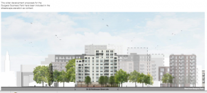 35-39 Parkhouse view from Burgess Park with planned buildings