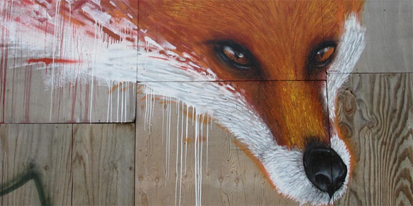 fox face painted on plywood in Burgess Park