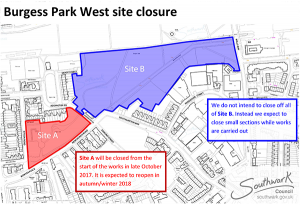 Development plans for Burgess Park West