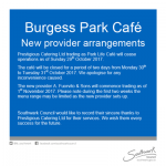 Burgess Park Cafe catering arrangements