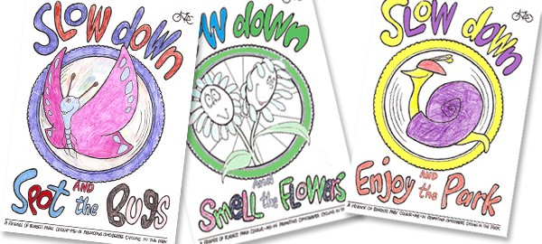 Thank you to the children who coloured in the Friends of Burgess Park posters promoting considerate cycling in the park.