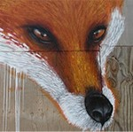 photo of fox face painted on plywood