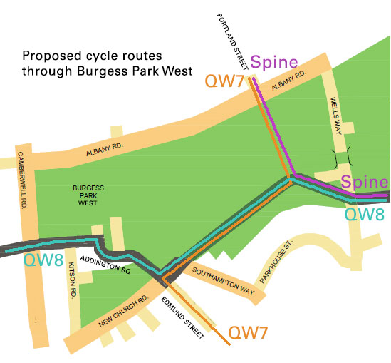 Map of Burgess Park West cycle routes