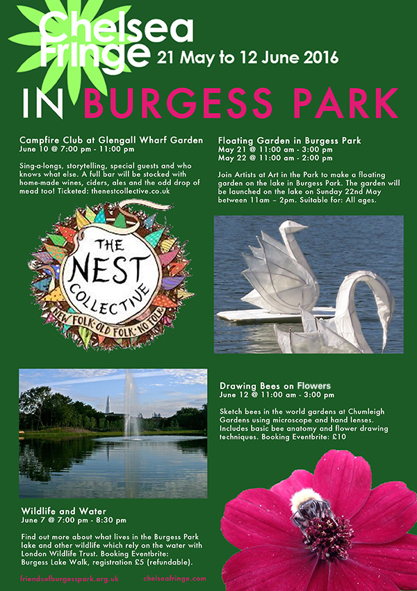 Poster of the Chelsea Fringe events in Burgess Park 2016