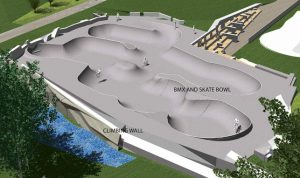 Artist's render of proposed skatebowl