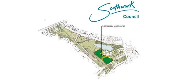 map of Burgess Park showing sports area