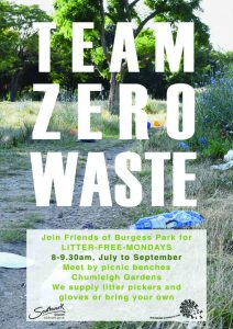 Litter free Monday 8-9.30am meet Chumleigh Gardens